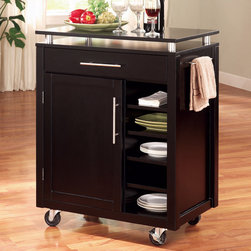 Coaster - Kitchen Island (Mobile Bar) in Black - This compact island creates efficiency instantly and expands your kitchen's work and storage area. It also serves as a mobile bar. Features a professional style solid Birch work surface, black frame, one drawer and a cabinet with one adjustable/removable shelf and custom nickel finish hardware.