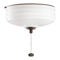DECORATIVE FANS - DECORATIVE FANS Weathered Copper Ceiling Fan Light Kit X-PCW109083 - This Kichler Lighting outdoor ceiling light features a warm Weathered Copper Powder Coat. The white cased opal interior of the clear glass shade helps to accentuate the wide ribbed details.