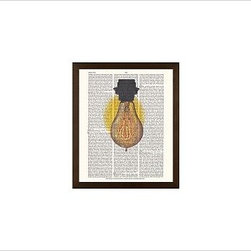 """Zlatka Paneva Framed Print, Light Bulb, No Mat, 11 x 13"""", Espresso - A delightful meditation on an object we use daily, but often fail to really look at - an ordinary light bulb. Zlatka Paneva was drawn to the different shapes of light bulbs and, particularly, unusual filaments. 11"""" wide x 13"""" high 16"""" wide x 20"""" high 28"""" wide x 42"""" high Alder wood frame. Black- or white-painted finish; or espresso-stained finish. White beveled-cut, archival-quality, acid-free mat. Available with or without a mat. {{link path='/shop/accessories-decor/pb-artist-gallery/artist-gallery-zlatka-paneva/'}}Get to know Zlatka Paneva.{{/link}}"""