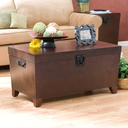 Upton Home - Pyramid Espresso Trunk Cocktail Table - Modernize your decor with this wood trunk cocktail table. Featuring black metal handles that give it a stylish touch, this table has a lid that opens up to reveal an extra-large storage space, and its espresso stain finish enhances its aesthetic value.