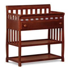 Changing Table - Dark Cherry - With its classic design and ample storage space, the Changing Table - Dark Cherry makes changing your baby a little bit easier. Designed with safety in mind, this changing table not only features a safety rail which encloses all four sides of the top of the table but also meets ASTM standards and all safety and anti-tipping standards. Crafted from wood and wood composites, you'll love the non-toxic, deep cherry finish. Two open shelves provides plenty of storage space, whether you add baskets (not included) to help with organization, or keep the shelves open for folded blankets, sheets, and more. Its single drawer is perfect for keeping diapers and wipes close at hand. The drawer has smooth metal glides with safety stops which prevents the drawers from pulling out. A water-resistant changing pad with a safety strap is included for your convenience. Its modern design and practical use makes this changing table an ideal addition to your nursery. Additional Features Meets ASTM standards Safety rail enclose all 4 sides of the top of the table Meets all safety and anti-tipping standards Water-resistant changing pad with safety strap Easy to assemble About Delta Children's ProductsStarting with the birth of his son Sam in 1947, first-time parent Louis Shamie founded Delta Children's Products as a way to help provide other new families with high-quality essentials for them and their children. When his first grandchild was born in 1984, Mr. Shamie took his efforts one step further, and in a single day was able to receive a patent for a crib design that could be assembled without hooks, screws or tools. From that day forward, Louis dedicated his company to creating quality pieces of furniture that gave parents the safety the needed with the design and affordability that they deserved. Today, Delta Children's Products is led by Louis's sons, Sam and Joseph Shamie.