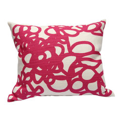 "Area Inc. - Daisy Berry Medium Decorative Pillow 17X19.5"" - Area Inc. - Add a fun print to your couch or bed using the 17-by-19.5 inch Daisy Berry Decorative Pillow. Featuring a tangled pink loop pattern on an off-white linen background, this pillow has a bold, bright look that pairs well with contemporary or eclectic decor. Includes a feather down insert."