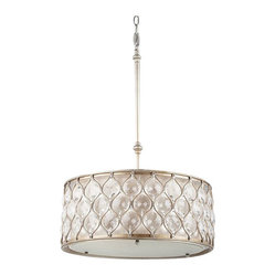 Murray Feiss - 3 Bulb Burnished Silver Chandelier - - UL Dry Approved.