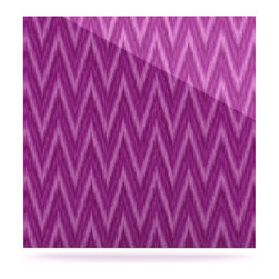 "Kess InHouse - Amanda Lane ""Plum Purple Chevron"" Lavender Fuschia Metal Luxe Panel (8"" x 8"") - Our luxe KESS InHouse art panels are the perfect addition to your super fab living room, dining room, bedroom or bathroom. Heck, we have customers that have them in their sunrooms. These items are the art equivalent to flat screens. They offer a bright splash of color in a sleek and elegant way. They are available in square and rectangle sizes. Comes with a shadow mount for an even sleeker finish. By infusing the dyes of the artwork directly onto specially coated metal panels, the artwork is extremely durable and will showcase the exceptional detail. Use them together to make large art installations or showcase them individually. Our KESS InHouse Art Panels will jump off your walls. We can't wait to see what our interior design savvy clients will come up with next."