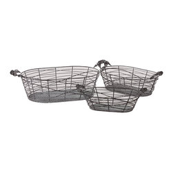 "Oval Metal Wire Basket Set of 3 - *Made of MetalMeasurements: 12.5""x6.5""x3.75""H; 14.75""x8""x4.75""H; 18.5""x9.5""x5.5""H"