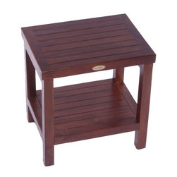 Hudson Reed - Hudson Reed Classic Teak Spa Stool with Shelf - Create an elegant look to your new bathroom or shower room with this high quality Classic solid teak spa stool with shelf. Featuring a practical but stylish design this teak stool features a useful storage shelf for spare towels or toiletries to ensure of a neat, organized bathroom space.  Featuring a compact design this stool is ideal for use in a small bathroom and ensures of total comfort too. Made from solid teak for long lasting durability this robust stool has been treated with a unique deep penetrating stain that is resistant to mold and mildew, while the handy foot leveling pads provide extra stability for an uneven floor.  Dimensions: 18 length x 13 width x 18 height.
