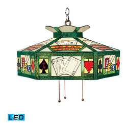 ELK Lighting - ELK Lighting 216-TX-LED Texas Holdem 3 Light Island Lights in Antique Brass - The stained glass billiard collection takes its cues from the game, sporting colorful, detailed illustrations and classic Victorian themes. Use over a pool table or kitchen island for optimal illumination. - LED, 800 lumens (2400 lumens total) with full scale dimming range, 60 watt (180 watt total)equivalent, 120v replaceable led bulb included