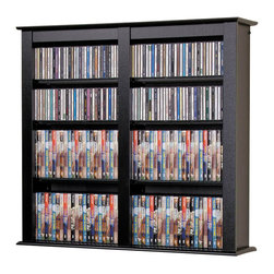 Prepac - Double Wall Mounted Multimedia Storage in Bla - Affordable and with room for an expanded CD or DVD collection. This unit is double-sized and easily mounted on a wall. You won't lose valuable floor space and it lets you create a stylish display with easy access to favorites. Black finish offers a contemporary look. Includes easy to install hanging rail system. Two or more units can be positioned side-by-side to increase storage. Adjustable shelves holds variety of media sizes. Capacity: 349 CDs, 142 DVDs, 272 Blu-Ray discs and 83 VHS cassettes. Warranty: Five years. Made from CARB-compliant, laminated composite woods with sturdy MDF backer. Made in North America. Minimal assembly required. 32 in. W x 8.25 in. D x 34 in. HStore your media in style with the Double Wall Mounted Storage shelf. Ideal for managing a medium collection of CDs or DVDs, this piece mounts on your wall so you don�۪t have to clutter your floor space. Not only is it stylish, it makes your collection easier to access, too. Mounting it on your wall at any height couldn�۪t be easier with our innovative hanging rail system. A wise choice for anyone who wants their storage to be both practical and chic.