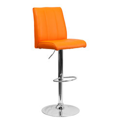 Flash Furniture - Flash Furniture Contemporary Orange Vinyl Adjustable Height Bar Stool - This sleek dual purpose stool easily adjusts from counter to bar height. The simple design allows it to seamlessly accent any area in the home. Not only is this stool stylish, but very comfortable to provide you with an amazing sitting experience! The easy to clean vinyl upholstery is an added bonus when stool is used regularly. The height adjustable swivel seat adjusts from counter to bar height with the handle located below the seat. The chrome footrest supports your feet while also providing a contemporary chic design.