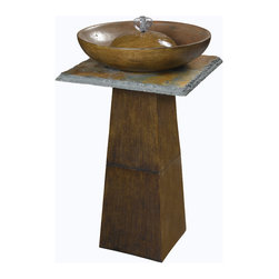 Kenroy - Kenroy 50010BRZ Ferris Outdoor Floor Fountain - A gentle bubbler festoons from the bowl of this monolithic stand.  Soft and tranquil water sounds, along with a Bronze finish, make this clean primitive form perfect for house or garden.