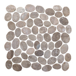 Pebble Tile - Coin Mosaic Tile, Tan, 12 in. X 12 in. - The coins mosaic tile are made up of stones that are carefully cut and laid on mesh to create a 12x12 in. interlocking square. Each stone is a varying oval shape to create a pebble like appearance with a uniformed look. The coins mosaic tile is our most unique product and allow for a seamless attractive finish to any project. The versatility of this product is endless and with the variety of the shades and blends within the group you can create a wonderfully unique addition to your home, office or exterior area.
