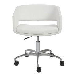 Euro Style - Contemporary Office Chair - Includes hardware. Soft and easy-to-clean leatherette. Comfortable padded seat, back and arms. White leatherette seat and shell. Chromed steel frame. Chromed aluminum base. Gas lift. Swivels. Five legs with casters. Warranty: One year. Seat height: 19 in. to 24 in.. Overall: 23.5 in. W x 22 in. D x 33.75 in. H. Assembly InstructionsNot too formal. Not too casual. This chair says thanks for stopping by my office, lets spend some time together.