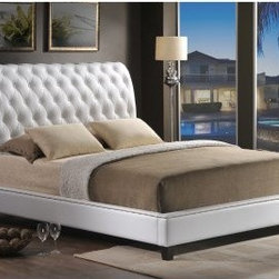 Baxton Studio Elizabeth Platform Bed - White - Platform bed with a headboard Leather-like polyurethane upholstery Foam cushioning Button tufted design with nailhead trim Box spring not required Mattress not included Queen bed: 98L x 67W x 50H inches King bed: 98L x 84W x 50H inches