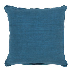 "Surya - Square Linen Pillow SL-006 - 22"" x 22"" - Add a burst of casual color sure to impress throughout your home with this immaculate pillow! Featuring bold blue coloring against a solid canvas, this piece radiates a cool and comfortable look that will easily translate from space to space. This pillow contains a zipper closure and provides a reliable and affordable solution to updating your home's decor."