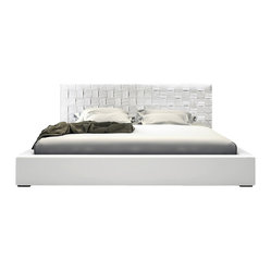 Madison Bed, White Leather