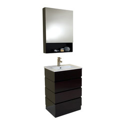 Fresca - Fresca Amato Modern Bathroom Vanity w/Solid Oak Wood & Espresso Finish - This sweetly simple chic to the point of efficient vanity is wonderfully complimented by a white sink basin and chrome hardware. Great for small spaces for a small office or the one person studio nestled into the Upper West Side. Features a beautiful espresso finish.