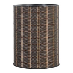 Lamont Home - Barton Round Wastebasket Black/Brown - Made from high quality PVC/Polyester fabric, these traditional styles have been updated in a wide range of patterns to match any decor. A vinyl lid with metal grommet completes the look for the hamper. A very durable product that adds style to any laundry room.