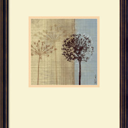 "Amanti Art - ""In the Breeze II"" Framed Print by Tandi Venter - Dandelions are a universal symbol for joy, and with these lovely blooms on your wall, you'll always feel like making a wish. Artist Tandi Venter has created an elegant piece that will please everyone who comes to your home. This charming floral picture comes framed in antique finished wood with a dark bronze scoop for added sophistication."