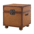 Lexington - Lexington Island Estate East Cove Trunk 531-955 - The woven body is outlined with nailhead trim on leather strapping, porter's handles and exaggerated hardware. But also intriguing is the lift lid access to legal/letter size files with removable storage tray.