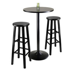 Winsome Wood - 3-Pc Modern Pub Set - Includes sleek and stylish table and two square legs stools. Veneer on composite wood top. Black metal coating for base. Made from MDF, metal and solid wood. Black finish. Assembly required. Stool: 13.60 in. Dia. x 29.10 in. H. Overall: 23.62 in. Dia. x 39.76 in. H
