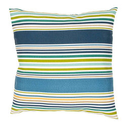 Jaipur - Veranda Navy 18-Inch Decorative Pillow - - These fashion forward pillows in trellis stripes and whimsical patterns are for both indoor and outdoor use       - Care Instructions: Remove the throw pillow's cover if it is removable. Wash the cover separately from the pillow. Pre-treat badly soiled or stained areas on the pillow cover with a color-safe prewash spray. Rub the spray into the stain with a damp sponge. Wash the pillow cover or the whole pillow on a gentle-wash cycle in warm water with a very mild detergent. Detergent for delicate fabrics or baby clothes is usually suitable. Remove the pillow or pillow cover as soon as the washing machine has ended the cycle and has shut off. Hang the pillow or cover up to dry in a well-ventilated area. If the care label specifies that the item is dryer-safe place the pillow or pillow cover in the dryer and tumble dry on low heat. Fluff the pillow once it is dry in order to maintain its form. Don't use the pillow until it is completely dry. Damp pillows will attract dirt more easily  - Made in USA Jaipur - PLW101770