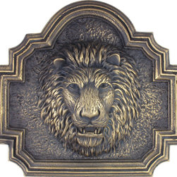 Metal finish Pool fountain spitter lion head on plaque - Metal finish Lion head fountain.