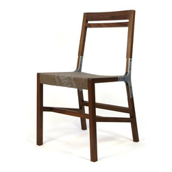 Urbancase The 1.2 Chair - The 1.2 Chair by Urbancase. A handcrafted side/dining chair made from solid walnut with an aluminum joint. Contoured seat-pan with a 100% wool German army surplus blanket cushion.