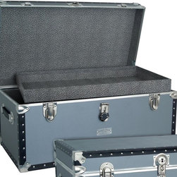 Seward Trunk - Seward Classic 31 in. Oversize Locker w Tray - Tray included. Heavy duty Nickel hardware. Heavy gauge silver vinyl covering. Durable wooden construction. Paper lined interior protects contents. Strong tacked Black colored binding. 2 Leather handles. Decorative name plate. 31 in. L x 17 in. W x 15.25 in. H