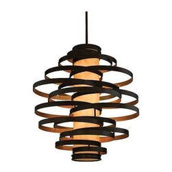Used  Corbett Lighting New Vertigo Pendant Light - This light is brand spanking new and has never been used! A contemporary, modern marvel that makes exceptional use of geometric design elements. Notice the round bands made from hand-crafted iron, as well as the cylindrical caramel ice diffuser.