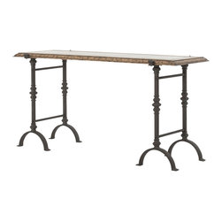 Marco Polo Imports - Daniele Console Table - Industrial console table, expertly crafted fine oak with a classic iron base, in a rustic oak finish.