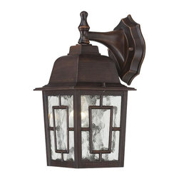 "Nuvo - One Light - Outdoor Wall Sconce - Rustic Bronze Finish with Clear Water Glass - Shade: Clear Water Glass.  UL certified: Wet Location.  Bulb Information: 1 x 100w-Medium A19 Incandescent (Bulb is not included).  Top to Outlet: 9. 25"". . Color/Finish: Rustic Bronze. 8 in. L x 6 in. W x 12 in. H (2 lbs)The Banyon collection has a pleasing architectural aesthetic and features geometric inlays atop its clear water glass.  This collection is offered in three finishes; white, rustic bronze, and textured black.  The Banyon collection with its strong design and handsome finishes will be a welcome addition to any home."