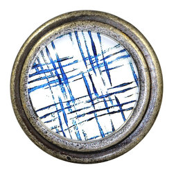 Charleston Knob Company - Set of 2 Vintage Pewter & Glass Knobs - Check Blue - Our metropolitan french pewter are acclaimed by designers for their original art and design. Place some of these on a neutral-toned cabinet, stand back