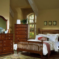 Vaughan Bassett - 5 Pc Slat Poster Bedroom Set in Cherry Finish - Choose Bed Size: FullIncludes slat poster bed, commode, chest, triple dresser and landscape mirror. Cherry finish. Assembly required. Commode:. 2 Drawers. 1 Open shelf. 28 in. W x 16 in. D x 29 in. H. Chest:. 5 Drawers. 38 in. W x 18 in. D x 54 in. H. Triple dresser:. 9 Drawers. 58 in. W x 18 in. D x 44 in. H. Landscape mirror: 42.5 in. L x 2 in. W x 38 in. H. Slat poster bed:. Full Size:. Includes slat poster headboard, slat poster footboard and wood rails with 3 1-inch slats. Slat poster headboard: 64 in. L x 3 in. W x 58 in. H. Slat poster footboard: 64 in. L x 3 in. W x 35 in. H. Wood rails: 76 in. L x 6 in. W x 1 in. H. Queen Size:. Includes slat poster headboard, slat poster footboard and wood rails with 3 1-inch slats. Slat poster headboard: 64 in. L x 3 in. W x 58 in. H. Slat poster footboard: 64 in. L x 3 in. W x 35 in. H. Wood rails: 82 in. L x 6 in. W x 1 in. H. Eastern King Size:. Includes slat poster headboard, slat poster footboard and wood rails with 6 1-inch slats. Slat poster headboard: 81 in. L x 3 in. W x 58 in. H. Slat poster footboard: 81 in. L x 3 in. W x 35 in. H. Wood rails: 82 in. L x 6 in. W x 1 in. H. California King Size:. Includes slat poster headboard, slat poster footboard and wood rails with 6 1-inch slats. Slat poster headboard: 81 in. L x 3 in. W x 58 in. H. Slat poster footboard: 81 in. L x 3 in. W x 35 in. H. Wood rails: 86 in. L x 6 in. W x 1 in. H