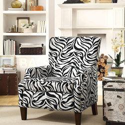 Zebra Pattern Accent Chair - The chair features a high slightly curved back for support, padded seating and wood legs. This chair is sure to make a statement in any room!