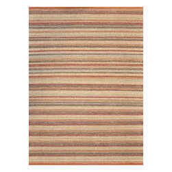 "Loloi Rugs - Loloi Rugs Green Valley Collection - Terracotta Stripe, 5' x 7'-6"" - Hand woven in India of seagrass and cotton, the Green Valley Collection breathes organic beauty in the floors of any home with these solid and striped designs. And with a raw textural surface, Green Valley adds a distinctly natural vibe to the room."