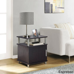Altra - Altra Carson Storage End Table - Add valuable functionality and style to your space with this pretty wooden storage end table. This table is equipped with silver metal hardware and accents and features a door that hides your items from view for a neat and tidy appearance in any room.