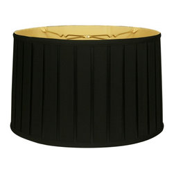 """Royal Designs, Inc"" - ""Shallow Drum English Box Pleat Basic Lampshade - Black 17 x 18 x 11.5, 6-way"" - ""This Shallow Drum English Box Pleat Basic Lampshade is a part of Royal Designs, Inc. Timeless Basic Shade Collection and is perfect for anyone who is looking for a traditional yet stunning lampshade. Royal Designs has been in the lampshade business since 1993 with their multiple shade lines that exemplify handcrafted quality and value.
