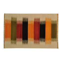 Striped Durie Kilim Flat Weave 4'x6' 100% Wool Reversible Hand Woven Rug SH15673 - Soumaks & Kilims are prominent Flat Woven Rugs.  Flat Woven Rugs are made by weaving wool onto a foundation of cotton warps on the loom.  The unique trait about these thin rugs is that they're reversible.  Pillows and Blankets can be made from Soumas & Kilims.