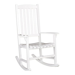 Holly & Martin - Jameson Porch Rocker, White - Bring home this beautiful wooden rocker! It will be the perfect addition to your patio, sunroom or deck. Featuring dual leg rockers and armrests for added comfort and an open air slated design for quick drying after a rainfall. You will want to spend hours reading in this comfortable hard wood rocker!