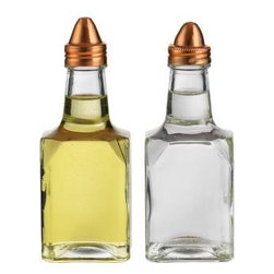 Home Essentials - Square Oil And Vinegar Set With Copper Cover - Make seasoning a pleasure with this small oil and vinegar set! Match this with our other copper covered oil and vinegar dispensers to complete your set. Its compact size, square shape and fine glass makes it an all time favorite.