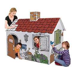 Discovery Kids Cardboard Playhouse - The Discovery Kids Cardboard Playhouse has decorative touches added to the exterior just waiting for the kids to make their own.