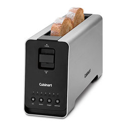 Cuisinart - Cuisinart CPT-2000 2-Slice Long Slot Motorized Toaster - Enjoy a tasty breakfast with this functional motorized toaster. Its unique design keeps it cool even when powered. Its features include defrost and enhanced bagel toasting options and a bright LED countdown display that alerts you to its status.