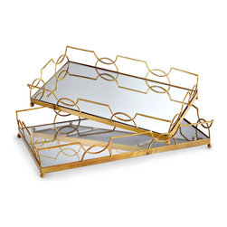 Nephrite Trays - A simple geometric frame is expanded into a gracefully symmetrical lattice of interlocking rings and sunset curves when reflected in the bases of the Nephrite Trays. Just under two feet long and equipped with pared-down, lacy walls and small feet, these metal and mirror trays offer high-impact display for a collection or a dazzling presentation of drinkware.