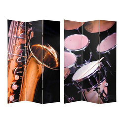 Oriental Furniture - 6 ft. Tall Double Sided Music Room Divider - Drums/Saxophone - A unique and distinctive room divider, a great design for anyone who plays music or has a strong appreciation of it. A solid crafted floor screen, with images printed on durable art quality cotton canvas stretched onto kiln dried Spruce wood frames.