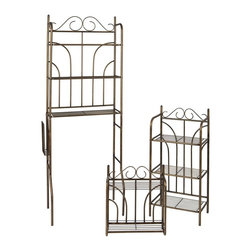 Holly & Martin - Holly & Martin Bronze Olivia 3pc Bath Set - Decorative open framing makes any bath space appear larger. Large-scale scrolls at the tops are complemented by curved back detailing. Three essential pieces, including a wall mount and two freestanding units, are included so you'll have the perfect set for display. * Complete with spacesaver, wall shelf, and floor shelf. Each piece has multiple fixed wire shelves and sturdy construction. . Durable all metal construction. Rubbed Bronze Paint Finish. Assembly Required. 25.5 in. W x 36.75 in. D x 3.75 in. H