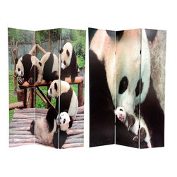 Oriental Furniture - 6 ft. Tall Panda Bears Double Sided Room Divider - Pandas have been a prized subject of nature photographers for many years. They are also popular with adults and children alike. This wonderful screen shows a stunning close up image of a mother with her cub as well as a group of pandas relaxing in their habitat. This screen is a multi-purpose home decor accent; great for dividing space, redirecting foot traffic, hiding unsightly areas or providing a backdrop.