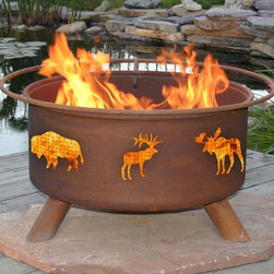 Moose & Tree Fire Pit - Get in the spirit of the outdoors with a handcrafted Moose & Tree Fire Pit. With fine cutout details of North American moose and fir trees, it comes equipped with a barbeque grill, essential for grilling with friends, so be ready for your next gathering with a Moose & Tree Fire Pit!