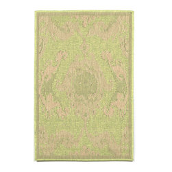 """Trans-Ocean - 23""""x35"""" Monterey Ikat Green Rug - Amazingly detailed pattern and beautifully blended yarns make this Machine Made rug rise above the rest.Wilton Woven in India of 100% Polypropylene and UV stabilized for Indoor or Outdoor use.A tight weave of Polypropylene allows for maximum design and textural appeal, and creates the look of natural fibers but is easy care. Made in India."""