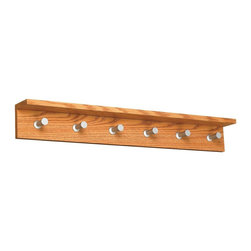 Safco - Contempo 6 Hook Wood Wall Rack in Medium Oak Finish - Includes mounting hardware. 2 in. tapered shaft. 1 in. head. Capacity of 10 lbs. per hook. 0.75 in. material thickness. Contemporary design. Consists of four hooks. Made from compressed wood and aluminum. No assembly required. 36 in. W x 4 in. D x 4.75 in. H (6.6 lbs.). Assembly InstructionMake a great impression with your guests rain or shine! Make sure each guest has a place for their hats, coats and scarves. This costumer can greet guests in your reception area, lobby, office, waiting room, training center, conference room or classroom. Also great in any entrance area such as an atrium or foyer. And create space for your guests to hang their hats in a restaurant, food court, warehouse or any place your guests visit. Now all your guests will feel like they're at home.