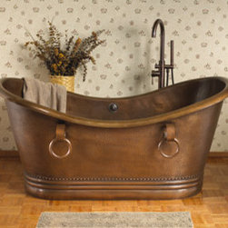 Sawyer Bateau Hammered Copper Double Slipper Tub with Rings - A very luxurious piece.  Hammered exterior and interior with smooth rim and base.  Copper Antique finish.